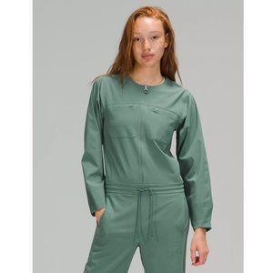 Lululemon Ventlight Zippered Jumpsuit Color Tidewater Teal Sz 8 NWT Long Sleeve